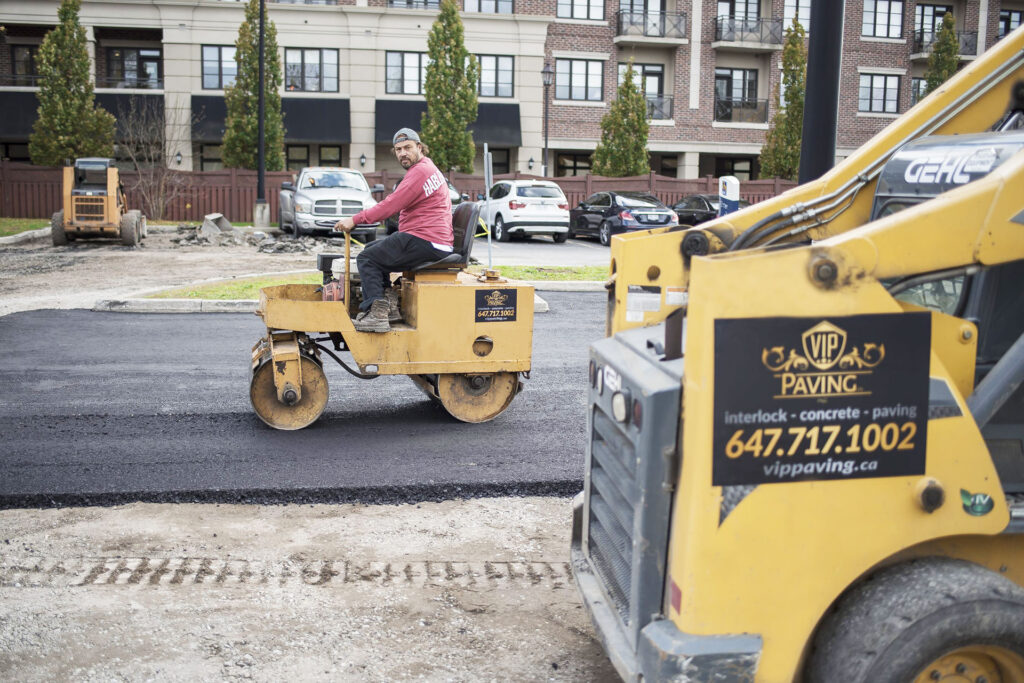 commercial pavingproject leveling up the asphalt by vip paving