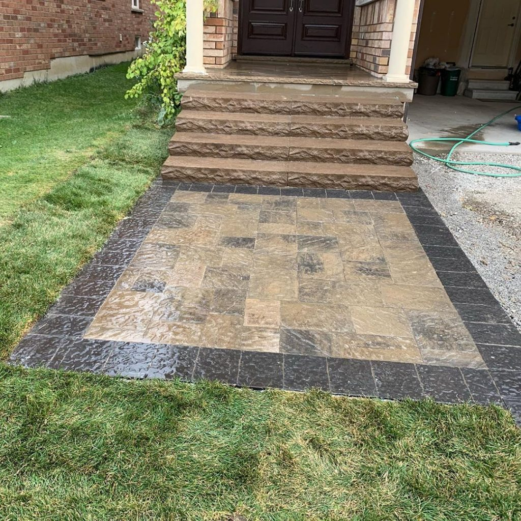 natural stone paving on the walkway