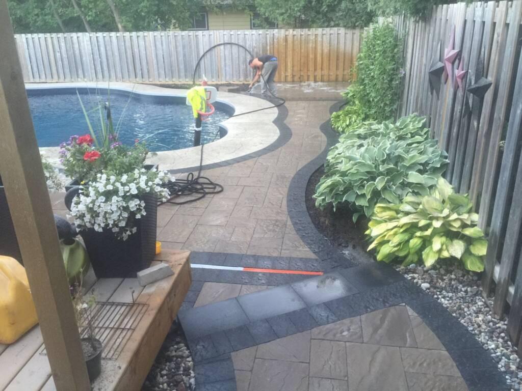 Amazing Backyard Interlocking Around Swimming Pool Newmarket