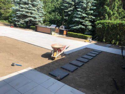 In Progress of Backyard Interlocking by VIP Paving Toronto